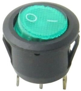 Green Illuminated Round Rocker Switch 125 250v On off Single Pole Double Throw