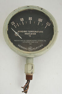 General Electric Winding Temperature Indicator Gauge Large 6 5 Steampunk d3l 1