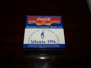 Coca Cola Limited Edition Atlanta 1996 Olympics Miniature Contour 3 Bottle Set