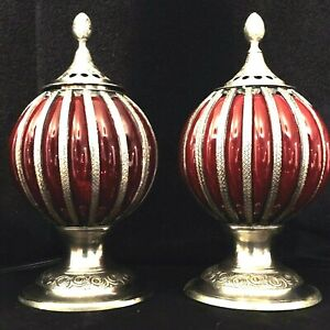 Pair Art Deco Table Boudoir Vanity Lamps With Red Pressed Molded Glass Globes