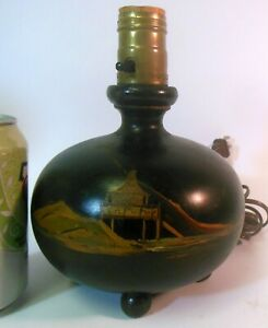 Antique Vintage Asian Japanese Black Wood Ball Lamp Hand Painted Scenes