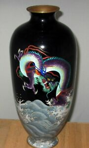 Spectacular Large Japanese Partial Ginbari Cloisonne Vase W Three Clawed Dragon