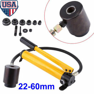 10ton 6 Dies Hydraulic Knockout Punch Driver Kit Hand Pump Hole Case Tool