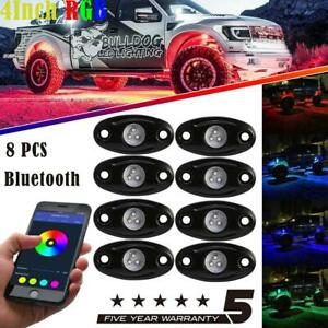 8x Led Rgb Rock Light Underbody Glow Lamp Bluetooth Offroad For Chevrolet Truck