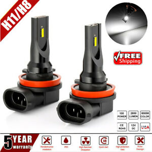 2x Cree H11 H8 Led Fog Light Conversion Kit Bulb High Power 6000k 100w Headlight