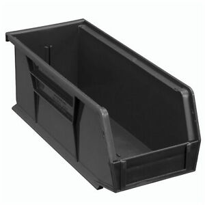 Plastic Stacking Bin 4 1 8 X 10 7 8 X 4 Black Lot Of 12
