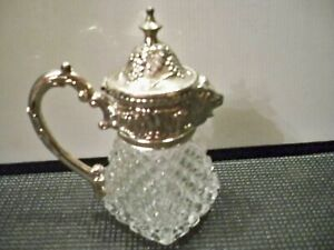 Vintage Pressed Glass Pitcher Silver Plated Lions Head Spout Pitcher 6