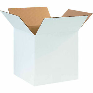 10 X 10 X 10 Cardboard Corrugated Boxes 65 Lbs Capacity Ect 32 White Lot