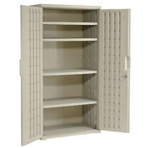 Iceberg Plastic Storage Cabinet Light Gray 36x22x72