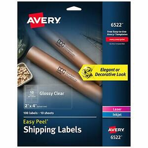 Avery Glossy Crystal Clear Address Labels All Printers 2 X 4 100 Labels