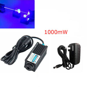 Blue 450nm 1000mw 1w 25x60mm Dot Laser Diode Module Mini Engraving W 12v Adapter