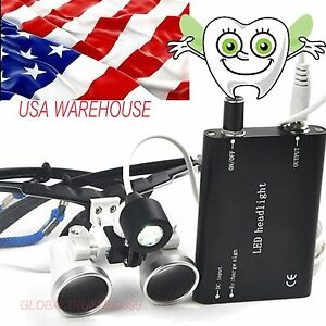 Medical Dental Glass Lens Binocular Loupes 3 5x420 Led Head Light Lamp Magnifier