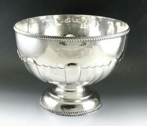 Antique 1912 English Sterling Silver Georgian Style Large Centerpiece Punch Bowl