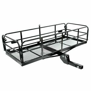 360 Lbs Foldable Hitch Cargo Carrier Mounted Basket Luggage Rack W 2 Receiver