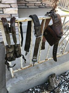 Vintage Lineman Pole Tree Climbing Gear Lot With Spikes Harness Belts