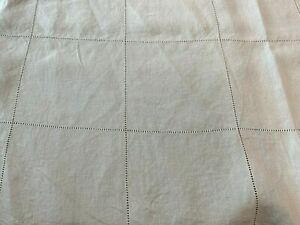Vintage Tablecloth Table Cloth Natural Linen Drawn Thread Squares 80 X 98