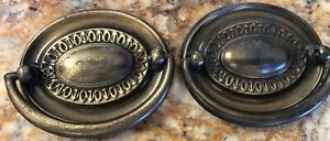 Vintage Brass Oval Drawer Bail Pull 3 X 2 Hardware