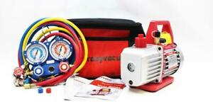 Kozyvacu Auto Ac Repair Complete Tool Kit With 1 stage 3 5 Cfm Vacuum Pump Set