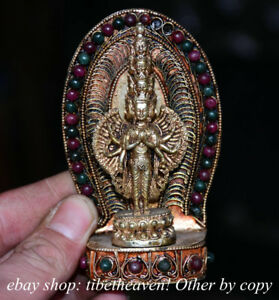4 2 Old Tibetan Filigree Jewel 1000 Arms Avalokiteshvara Of Goddess Sculpture
