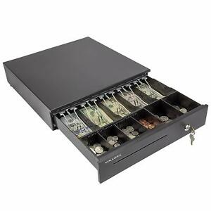 Cash Register Drawer For Point Of Sale System With Removable Coin Tray Black