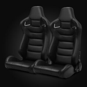 Universal Pairs Jdm Black Carbon Fiber Mixed Pvc Leather Racing Bucket Seats