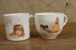 2 Antique Child China Porcelain Tea Cups