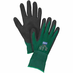 North 174 Flex Oil Grip 153 Nitrile Coated Gloves Green Large 1 Pair Lot