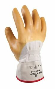 Showa Safety Cuff Rubber Coated Work Glass Glove 66nf Size Large Ten Pairs
