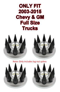 Set 32 Black Spike Wheel Lug Nut Covers For 2003 2015 Chevy Gmc Full Size Truck
