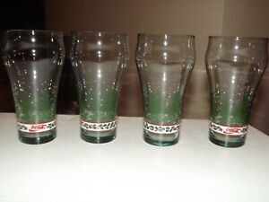 Vintage Coca Cola Glasses Set of 4 Evergreen Trees and Holly 6 1/8 in Mint