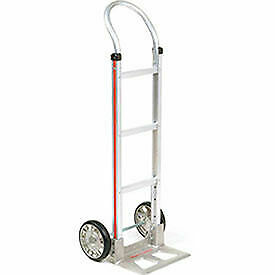 Magliner Aluminum Hand Truck With Curved Handle Mold on Rubber Wheels