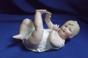Antique German Gebruder Heubach 7 1 4 Piano Baby Doll Bisque Figurine Signed