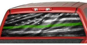 American Distressed Flag Army Green Line Rear Window Graphic Decal Pickup Truck