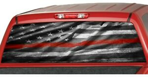 American Distressed Flag Red Line Rear Window Graphic Decal Pickup Truck