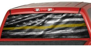 American Distressed Flag Yellow Line Rear Window Graphic Decal Pickup Tow Truck