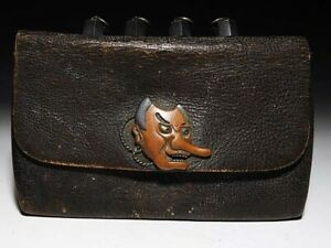 Meiji Period Leather Tobacco Pouch Syakudo Tengu Ornament Japanese Antique Japan