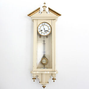 Antique Vienna Wall Clock Painted Northern European Gustavian Biedermeier