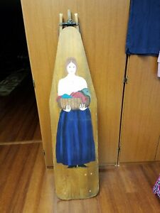 Antique Wooden Ironing Board Painted With Colonial Lady