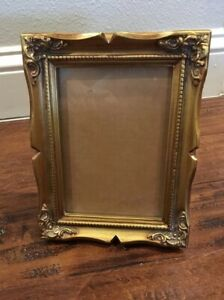Gold Color Wood Look Picture Photo Frame 5x7 Baroque Style Ornate Vintage