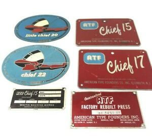 American Type Founders Metal Sign Lot Of 6 Little Chief Usa Printing Press