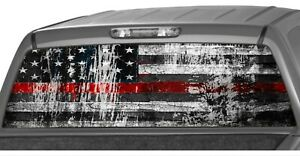 American Flag Distressed Firefighter Red Line Rear Window Graphics Decal Truck