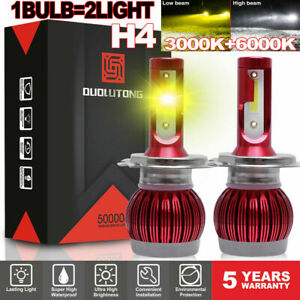 H4 Mini Led Headlight 8000k 6000k Low Hi Beam Headlamp 1800w Yellow White Light