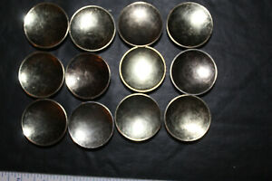 Lot Of 12 Vintage Brass Plated Cabinet Knobs Drawer Pulls 1 3 4 Concave Japan