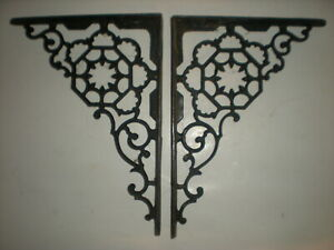 Vtg 1800 S Large Pair Of Antique Victorian Cast Iron Fancy Ornate Shelf Brackets