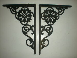 Vtg 1800 S Pair Of Antique Victorian Cast Iron Fancy Ornate Shelf Brackets 8 X 6