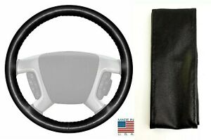 Black Genuine Leather Steering Wheel Cover For Wheelskins Size C Dodge
