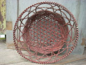 Antique Vintage Coiled Tin Tramp Art Basket Old Red Paint 13 X 5
