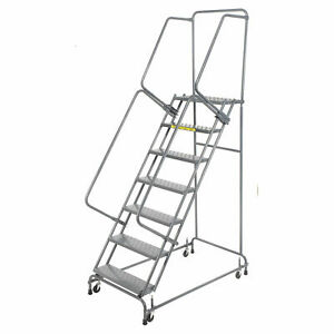 Ballymore Fsh726p Perforated 24 w 7 Step Steel Rolling Ladder 14 d Top Step