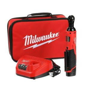 Milwaukee M12 Cordless 3 8 In Ratchet Kit 12 volt W Battery Charger Tool Bag