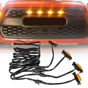 Set 4pcs Grille Led Amber Lights Light For Toyota Tacoma Trd Pro 2016 2018